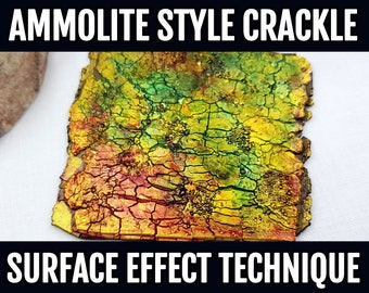Video Tutorial: NEW Ammolite style Crackle Surface Effect Technique on Polymer Clay.