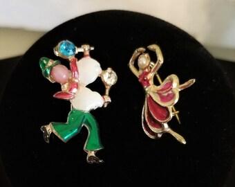Vintage Enamel Rhinestone Pearl Jester Clown & Ballerina Pin Brooch CUTE!!!!