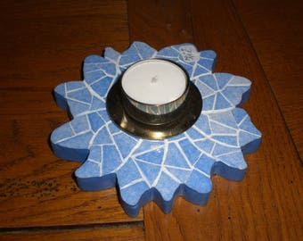 blue flower mosaic candle holder