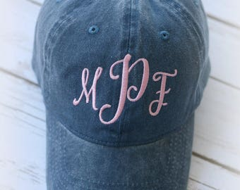 Ladies Monogrammed Baseball Cap-Pigment Dyed Ball Cap-Monogram Cap-Monogrammed Ballcap-Bridesmaid Gift-Birthday Gift-Personalized Gift