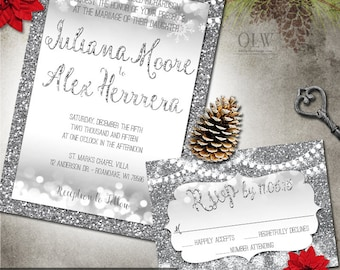 Winter Wedding Invite Silver Snow Glitter and Hanging Lights Wedding Stationery RSVP Card Digital Printable Winter Wonderland