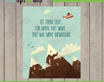 INSTANT DOWNLOAD, Move mountains quote, mountains, landscape, airplane, nursery print, Item 042D