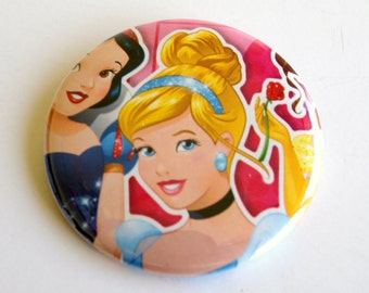 10 Upcycled Disney Princess Button - Princess Party Favor - Princess Birthday Party - Cinderella Favors - Cinderella Party Favors