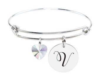 Initial Bangle made with Crystals from Swarovski  - V - SWABANGLE-GLD-AB-V - Silver