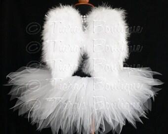 """Engel Tutu Kostüm, 13"""" Tutu und kleine Engelsflügel, Mädchen Engelset, Valentinstag Foto Prop Tutu, Cherub Tutu Set, weißen Tutu und Flügel"""