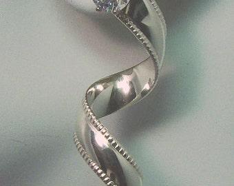 Earring Jackets Sterling Silver Beaded Spiral Stud Dangle JSBSS