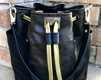 Bucket bag with side pockets, Cinched bucket bag in YOUR CHOICE of leathers, Leather bucket bag handbag tote - Laurel Dasso