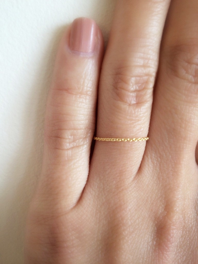 CHAIN Ring 1mm 14k SOLID Yellow Gold 1mm Ring Thin Band