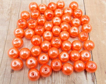 6mm Glass Pearls - Bright Salmon - 75 pieces - Neon Orange