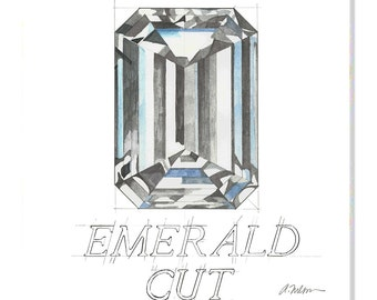 Emerald Cut Diamond Watercolor Rendering printed on Canvas