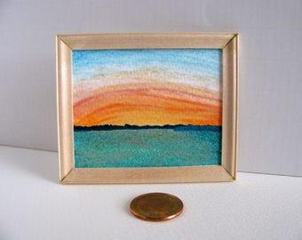 Framed Original Watercolour Painting / 1:12 Scale Dollhouse Art / Miniature Art / Handmade Unfinished Birch Frame / Sunset, Sunrise