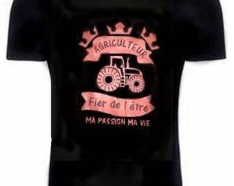 Black T-shirt with transfer farmer