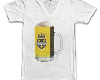 Ladies Pittsburgh City Flag Beer Mug Tee, Home Tee, City Pride, City Flag, Beer Tee, Beer T-Shirt, Beer Thinkers, Beer Lovers Tee