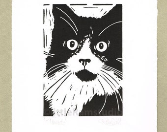 Black and White Tuxedo Cat - Linocut. Original hand pulled Relief Print