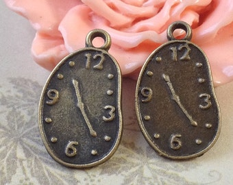 22 x 13 mm Antique Bronze (One-Sided) Thick Clock Charm Pendants (.am)
