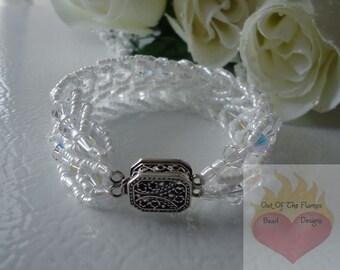 Bridal Swarovski Crystal Flat Spiral Stitch Bracelet  AB crystal 7 3/4 Inch