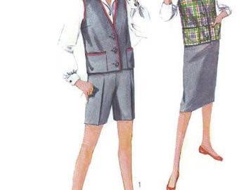 Simplicity 3046 Sewing Pattern 1950s Fashion School Girl Uniform Shorts Vest Pencil Skirt Sleeveless Jacket Bust 34