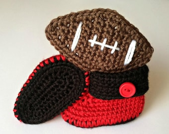 Atlanta Falcons Crochet Cuffed Baby Booties, Atlanta Falcons Baby Booties, Crochet Baby Shoes, Baby Shoes, Baby Shoes Boy, Baby Shoes Girl