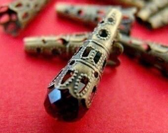 15pcs 23mm Antique Bronze Filigree Cone Caps A032