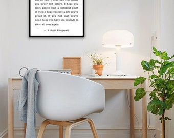F. Scott Fitzgerald, For What it's Worth Poster/ Encouragement Gift/ Graduation Gift/ Anniversary Gift/ Nursey Decor - 16x20, 20x24, 24x36
