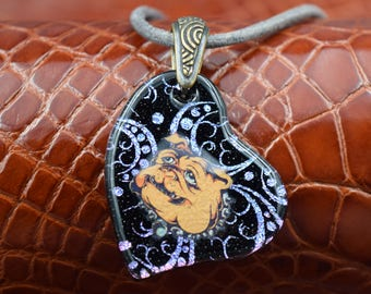 English Bulldog Dichroic Glass Necklace  Shipping Included