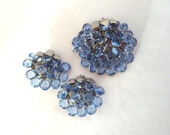 Blue Crystal Open Bezel Waterfall Brooch Earrings Set Dangling Crystals Silver Tone Setting