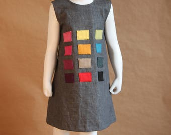 Camaieu- Little girl dress in grey denim - lined - 3 years old
