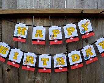 Pokemon Birthday Banner Pokemon Birthday Party Pokemon Birthday Decorations Pokemon Go Birthday Banner Pikachu Happy Birthday Banner