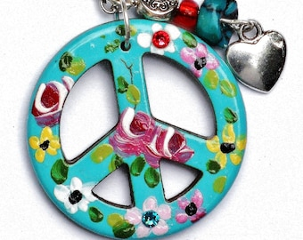 Turquoise Peace Sign Necklace Hand Painted Colorful Flowers Hippie Boho Jewelry FREE SHIPPING