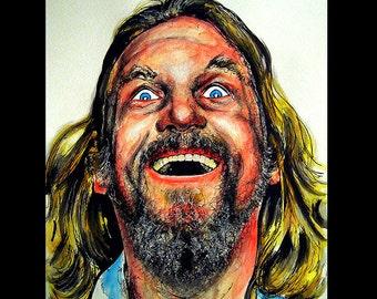 """Print 11x14"""" - The Dude - The Big Lebowski Bowling Comedy Jeff Bridges Million Lowbrow Pop Portrait Funny Jesus Milk Abides Cult Painting"""