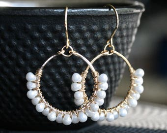 White dangle hoop earrings, 14k gold filled, Miyuki glass beads, drop earrings, wire wrapped, beaded, Mimi Michele Jewelry