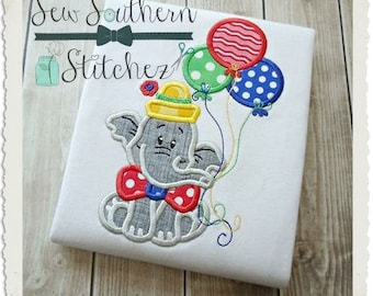 Birthday Elephant Applique Design ~ Circus Elephant Applique Design ~ Instant Download