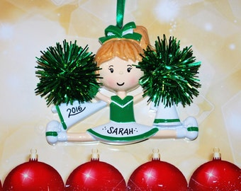Personalized Green & White Cheerleader Christmas Ornament