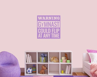 Warning Gymnast Could Flip Wall Decal - Quote Kids Room Gymnastics Stickers