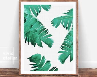 Palm Leaf Print, Tropical Print, Banana Leaf Wall Art, Printable Art, Tropical Wall Art Prints, Downloadable Prints, Digital Prints, Art