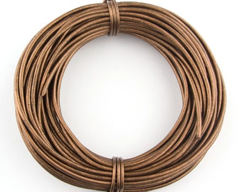 Bronze Metallic Round Leather Cord 2mm, 25 meters (27.34 yards)