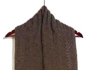 Warm Wool Lace Scarf - Hand Knit Natural Brown