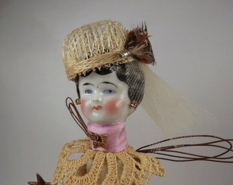 "Angel Assemblage Doll "" Lavender Lucy"" Assemblage Art Doll, Fairy Doll"