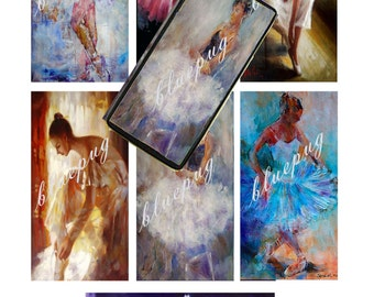 """7 Ballet Mix Domino Images 1""""x2""""  Photo Quality 4x6 Sheet Digtal Download Printable Dance Jewelry Necklace Key Chain"""