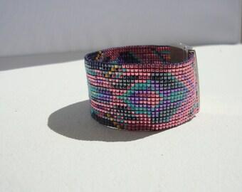 braclet cuff woven boho Craps, ethnic, pink, turquoise, purple