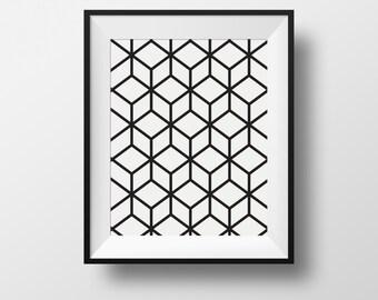 Wall art, print, cubic, black and white, frame, ikea ribba.