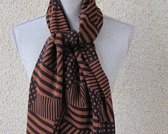 Fabric scarf in Brown Black Rectangular Fabric