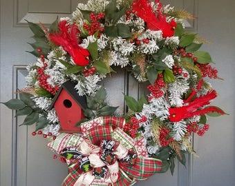 Winter Birds Wreath; Cardinal Wreath; Christmas Wreath; Frosted Pine Wreath