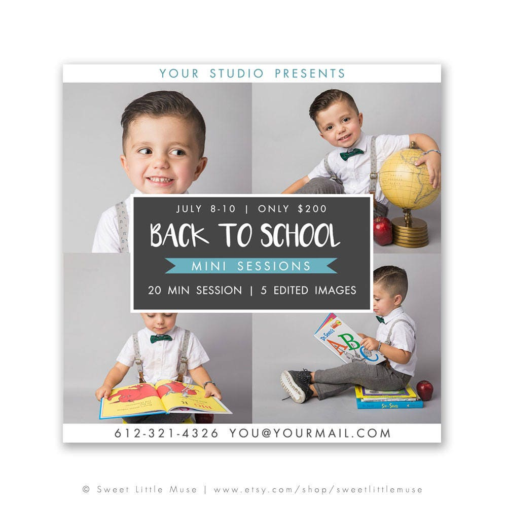 Back to School Mini Session Template photography marketing
