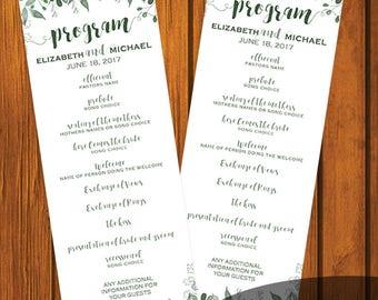 Greenery Wedding Program / Wedding Program / Digital File / Print At Home / Order of Service / Order of Ceremony