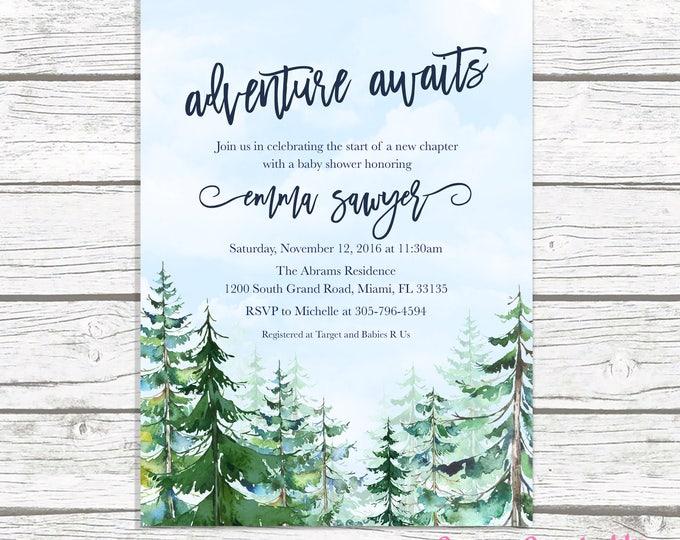 Adventure Baby Shower Invitation, Mountain Baby Shower Invitation, Conifer Trees Baby Shower, Winter Baby Shower, Adventure Awaits Invite