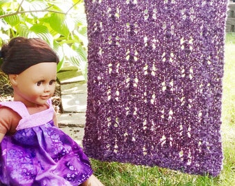 "pdf Mhyllot Knitting Pattern for 18 inch Doll Blanket -- PATTERN -- Doll Size Small Tiny 18"" Dolls Throw Afghan Knit DIY"