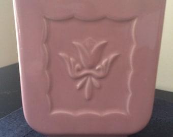 Tulip Vase, Vintage Pink Tulip Vase, Dusty Rose Vase, Vintage Pottery Vase, 1960s Retro Vase, Cottage Chic, Mid-Century Pink Vase, PL3539