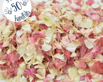 5 Litres approx 50 guests Natural Wedding Confetti Eco-Friendly Biodegradable Dried Delphinium Petals Raspberry / Vanilla, blush pink, ivory