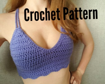 Easy Crochet Pattern Crop Halter Top ~ Amethyst